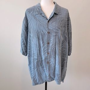 Tommy Bahama Blue Silk Palm Leaf Print Shirt. XL